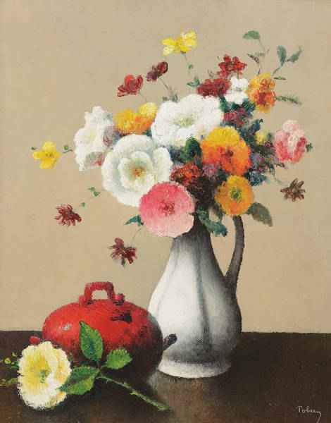 Posy Wall Art - Painting - White Vase And Red Box by Felix Elie Tobeen
