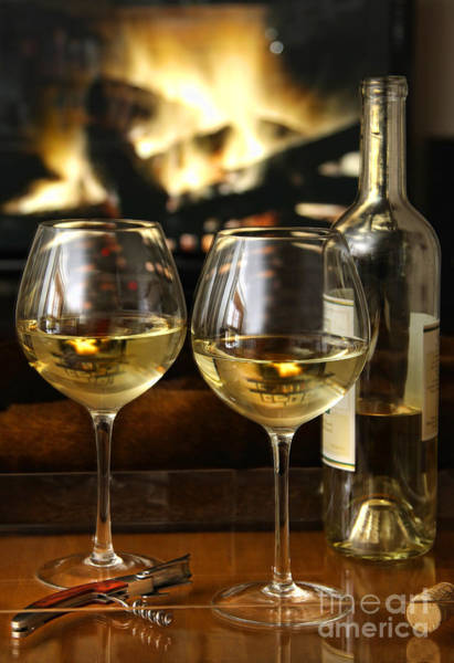 Photograph - White Wine In Front Of A Warm Fire by Sandra Cunningham
