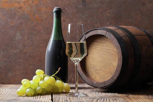 Drinking Glass Photograph - White Wine by Sematadesign