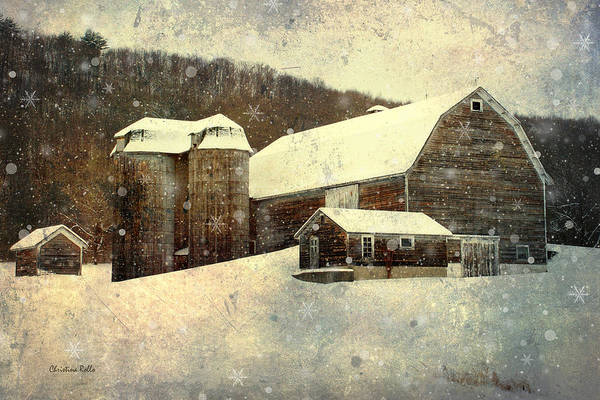 Farm Landscape Mixed Media - White Winter Barn by Christina Rollo