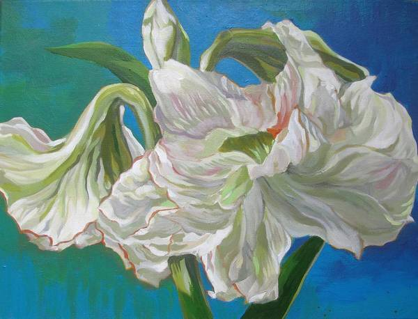 Painting - White With Blues by Alfred Ng