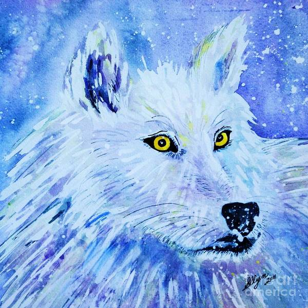 Arctic Wolf Painting - White Wolf - Aurora Nights In Blues - Square by Ellen Levinson