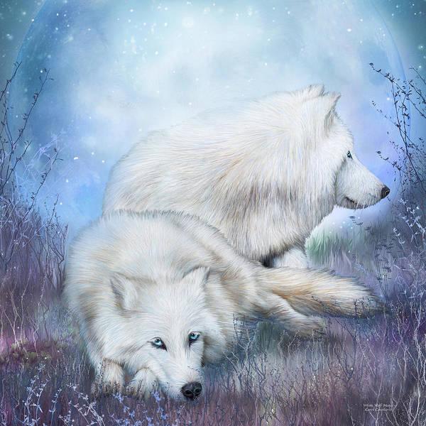 Mixed Media - White Wolf Mates by Carol Cavalaris