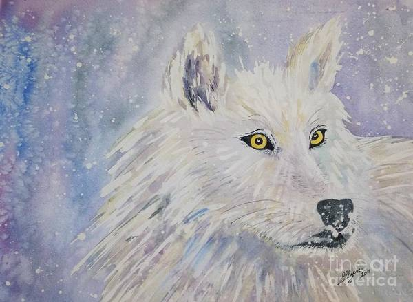Arctic Wolf Painting - White Wolf Of The North Winds by Ellen Levinson