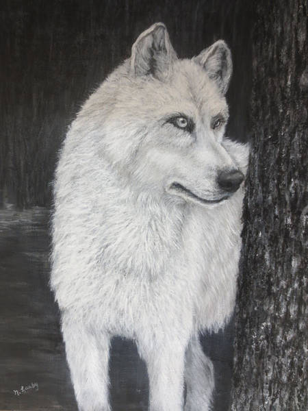 Painting - White Wolf On Guard by Nancy Lauby