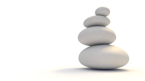 Wall Art - Digital Art - White Zen Stones by Allan Swart