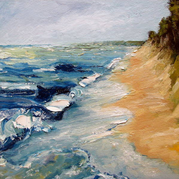 Wavy Wall Art - Painting - Whitecaps On Lake Michigan 3.0 by Michelle Calkins