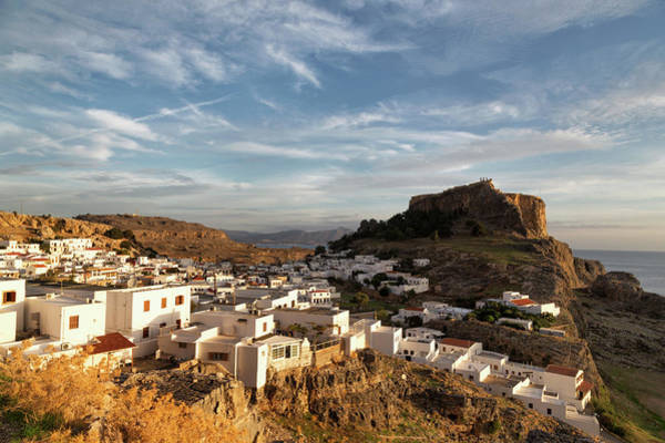 Dodecanese Photograph - Whitewashed Houses In Lindos, With The by Martin Child