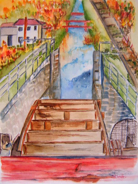 Wall Art - Painting - Whitewater Canal Lock by Elaine Duras