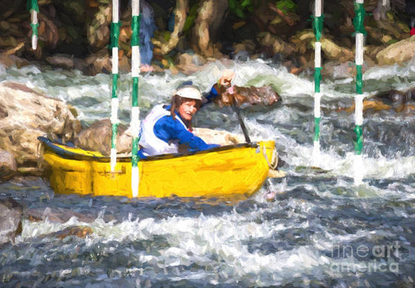 Photograph - Whitewater Canoe Paddler by Les Palenik