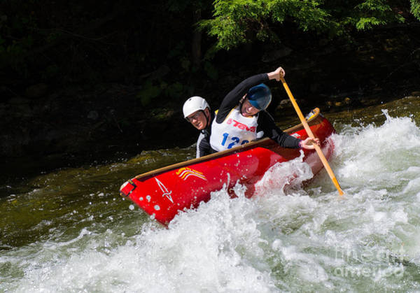 Photograph - Whitewater Open Canoe Race by Les Palenik