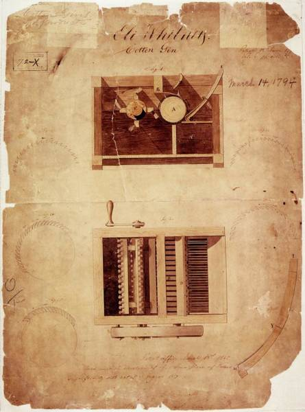 Intellectual Photograph - Whitney's Cotton Gin Patent by Us National Archives And Records Administration/ Science Photo Library
