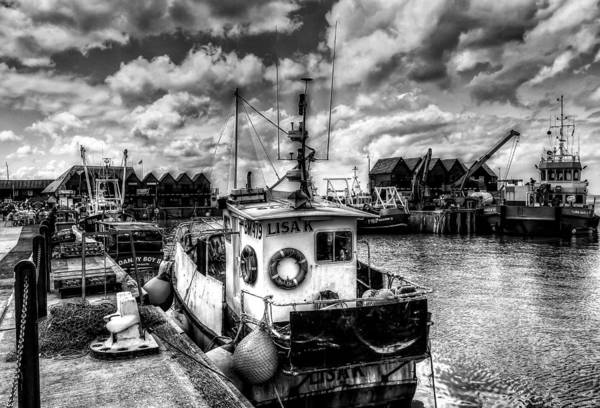 Oyster Boat Photograph - Whitstable Harbour Mono by Ian Hufton
