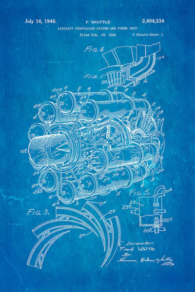 Pilot Photograph - Whittle Jet Engine Patent Art 1946 Blueprint by Ian Monk