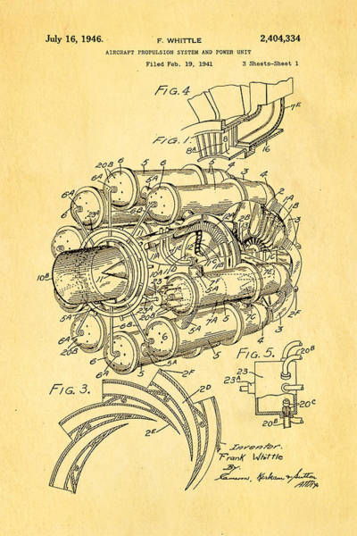 Fitter Photograph - Whittle Jet Engine Patent Art 1946 by Ian Monk