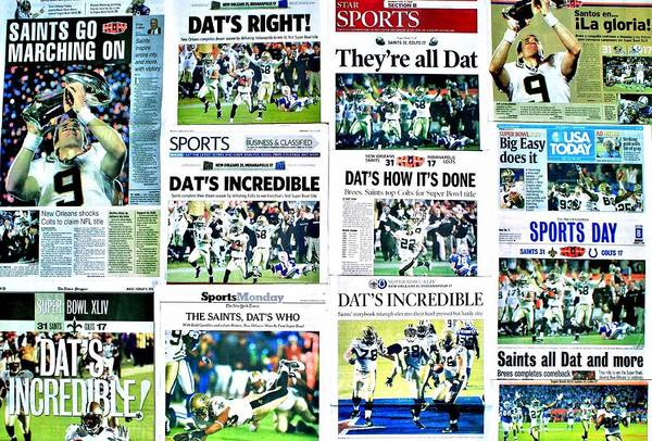 Game Photograph - Who Dat Headlines by Benjamin Yeager