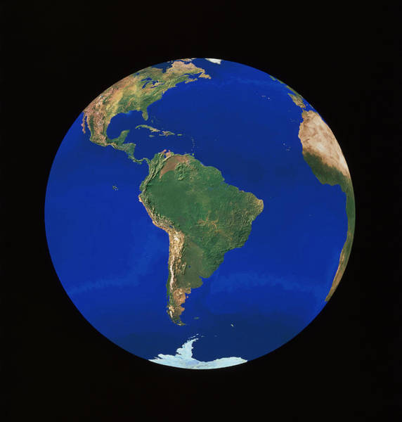 Wall Art - Photograph - Whole Earth Centred On South America by Copyright 1995, Worldsat International And J. Knighton/science Photo Library