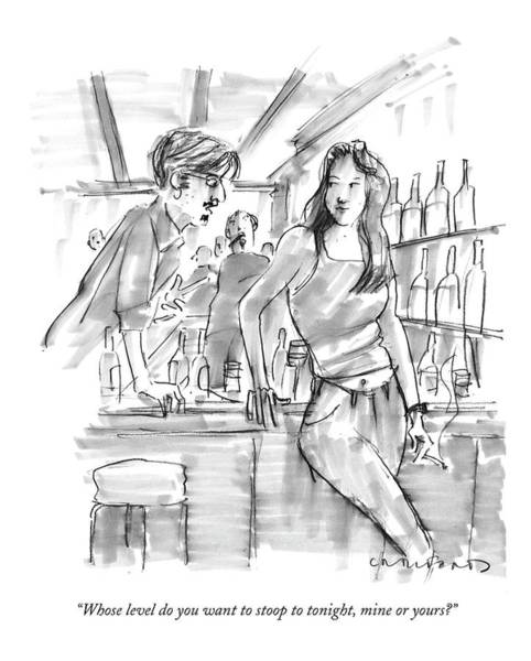 Stoop Drawing - Whose Level Do You Want To Stoop To Tonight by Michael Crawford
