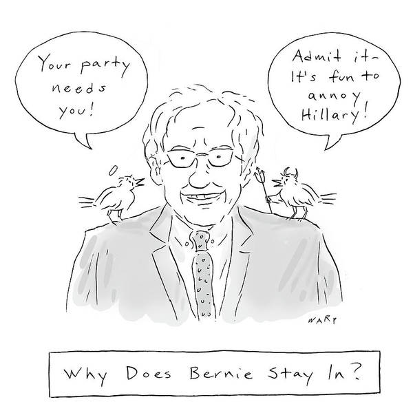 Wall Art - Drawing - Why Does Bernie Stay by Kim Warp