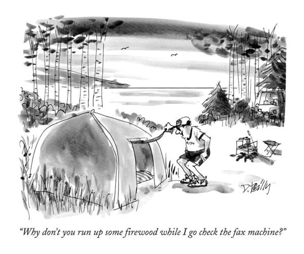 Hallmark Drawing - Why Don't You Run Up Some Firewood While I Go by Donald Reilly