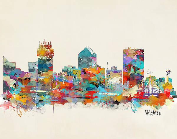 Skyline Painting - Wichita Kansas Skyline by Bri Buckley