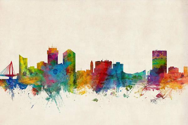 Skyline Wall Art - Digital Art - Wichita Kansas Skyline by Michael Tompsett
