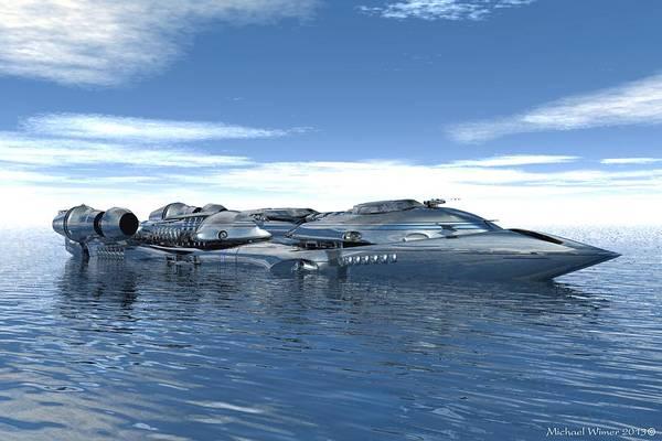 Speed Boat Digital Art - Wicked Jet Boat by Michael Wimer