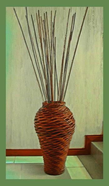 Wicker Basket Digital Art - Wicker Basket With Reeds by Harold Bonacquist