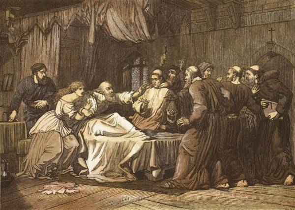 Colour Drawing - Wicliffe On His Death Bed Assailed by English School
