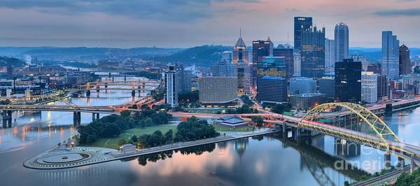 Photograph - Wide Angle Pittsburgh Sunrise by Adam Jewell