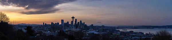 Seattle Skyline Photograph - Wide Seattle Morning Skyline by Mike Reid