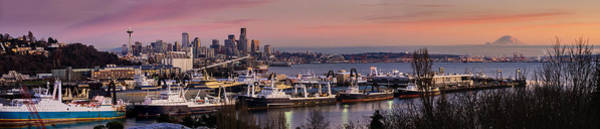 Seattle Skyline Photograph - Wider Seattle Skyline And Rainier At Sunset From Magnolia by Mike Reid