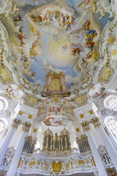 Photograph - Wieskirche Organ And Ceiling by Jenny Setchell