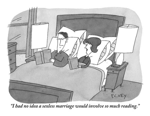 Bedroom Drawing - Wife Addresses Husband As Both Read Books In Bed by Peter C. Vey