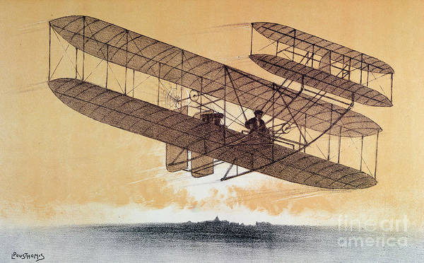 Invention Painting - Wilbur Wright In His Flyer by Leon Pousthomis