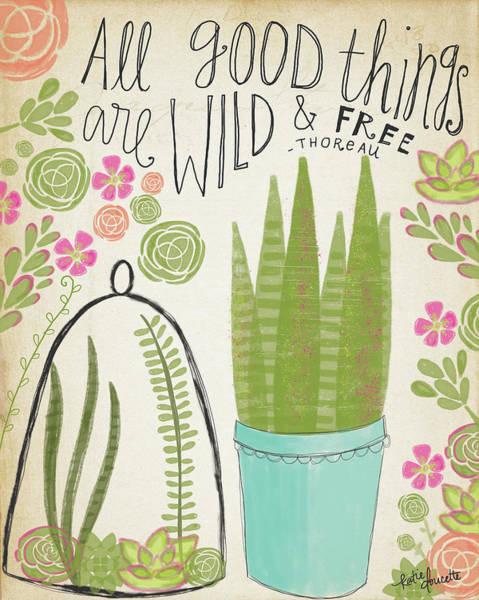 Succulent Wall Art - Painting - Wild & Free by Katie Doucette