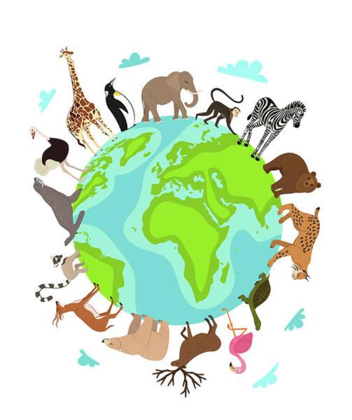 Digital Art - Wild Animals Around Globe Banner by Alfazetchronicles