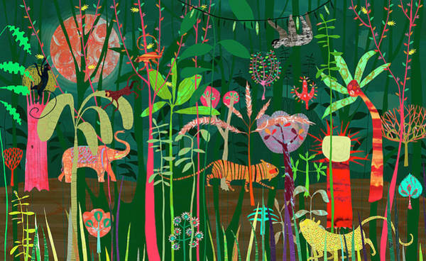 Beauty Of Nature Digital Art - Wild Animals In Lush Bright Color Jungle by Anne Wilson