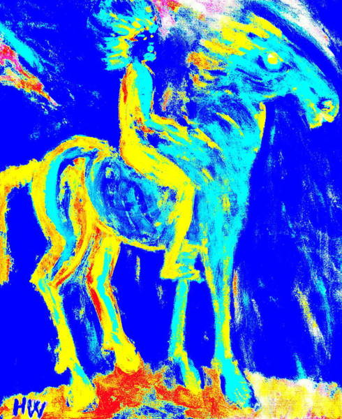 Horsemanship Painting - my Wild blue horse will blow away with me  by Hilde Widerberg