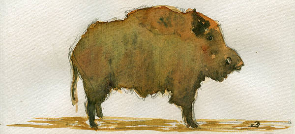 Pig Painting - Wild Boar by Juan  Bosco