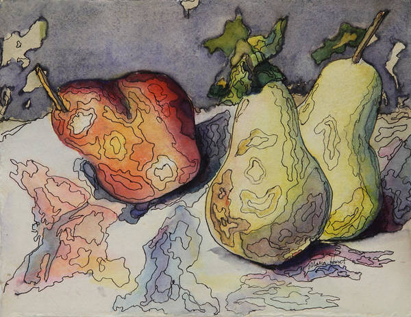 Wall Art - Painting - Happy Pears Rocking Out by Maria Hunt