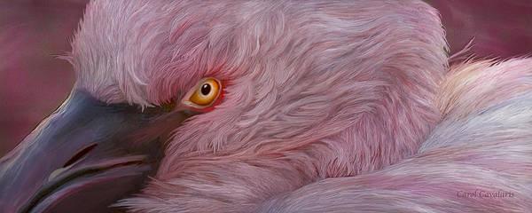 Mixed Media - Wild Eyes - Flamingo by Carol Cavalaris