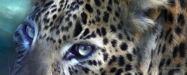 Wall Art - Mixed Media - Wild Eyes - Leopard Moon by Carol Cavalaris