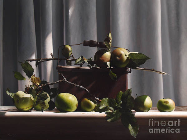 Wall Art - Painting - Wild Green Apples by Lawrence Preston
