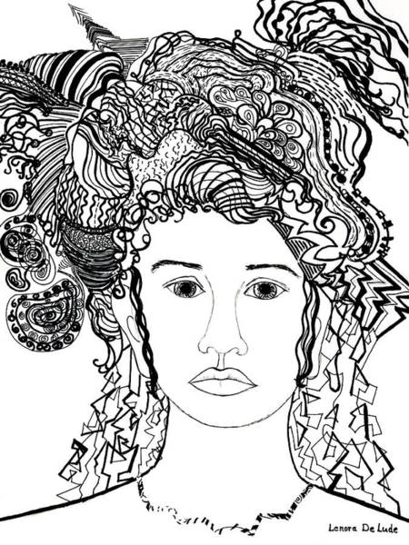 Wild Hair Portrait In Shapes And Lines Art Print