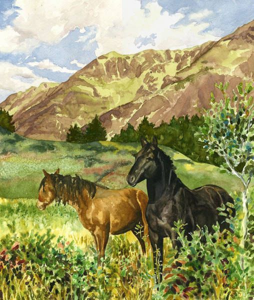 Maroon Painting - Wild Horses by Anne Gifford