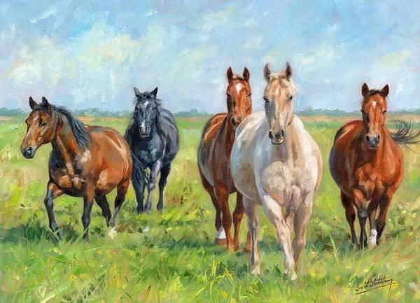 Running Horses Painting - Wild Horses by David Stribbling