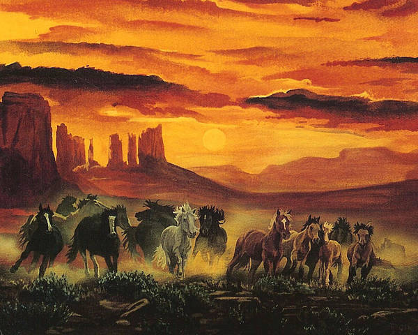 Painting - Wild Horses by Tim  Joyner