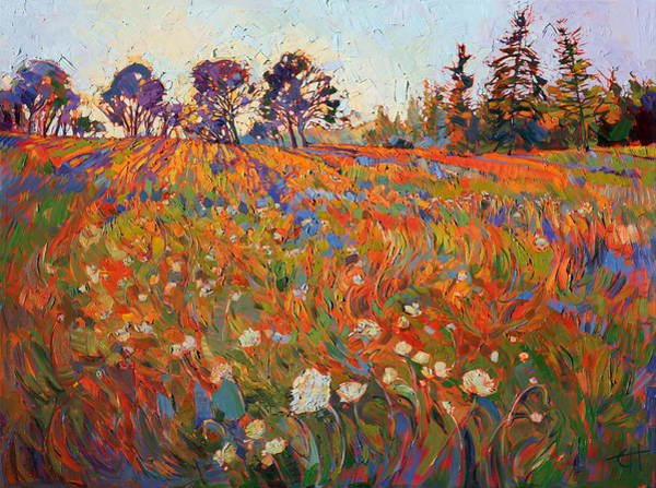 Field Of Flowers Wall Art - Painting - Wild In Flower by Erin Hanson