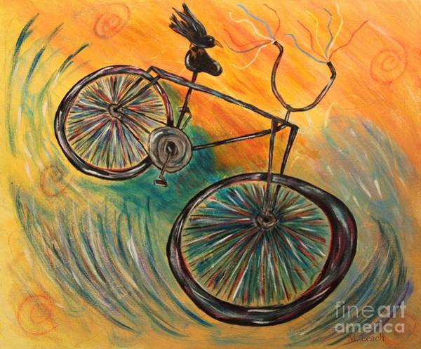 Thrilling Painting - Wild Bicycle Ride by Marlena Leach
